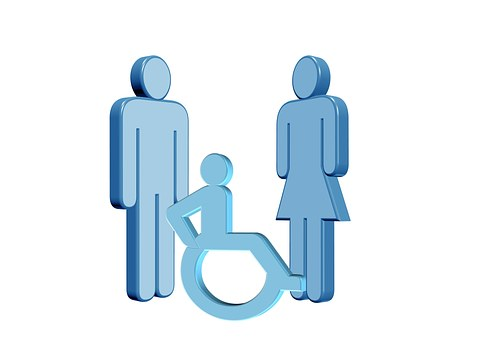 companies that help people with disabilities outline of man woman and disability symbol