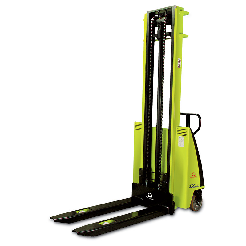 This is an example of a yellow pallet jack for a workplace.